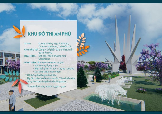 Đất nền sổ đỏ đô thị cạnh Sân Bay Buôn Ma Thuột - KĐT ÂN PHÚ với giá chỉ 668 triệu ( 30%)
