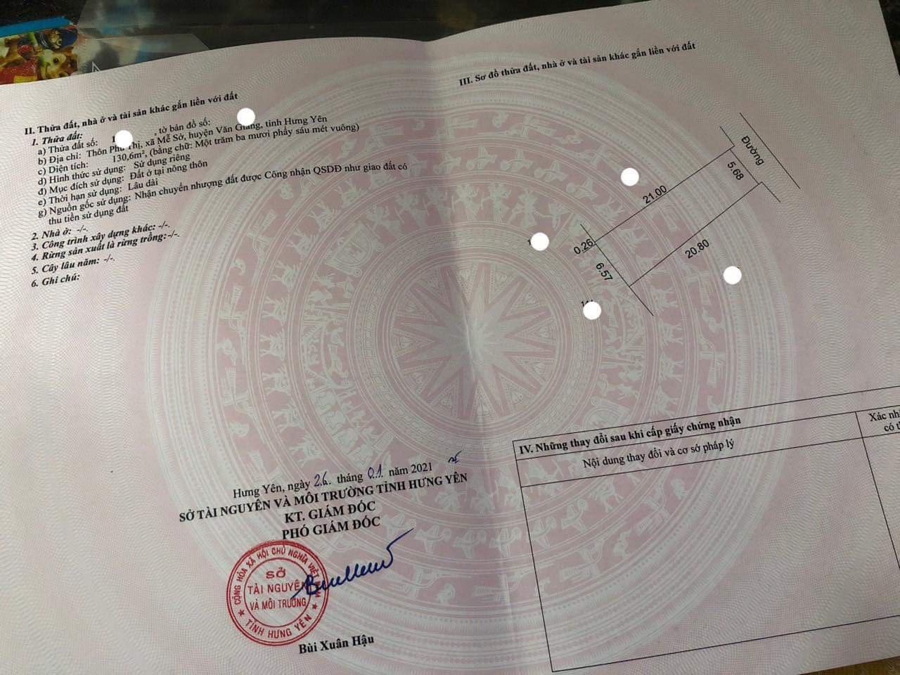 Bán ô đất 130,6m2 tại Thôn Phú Thị, Văn Giang, Hưng Yên