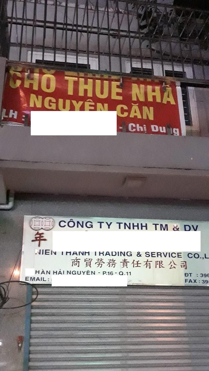 Cho thuê nhà Quận 11- MT đường Hàn Hải Nguyên