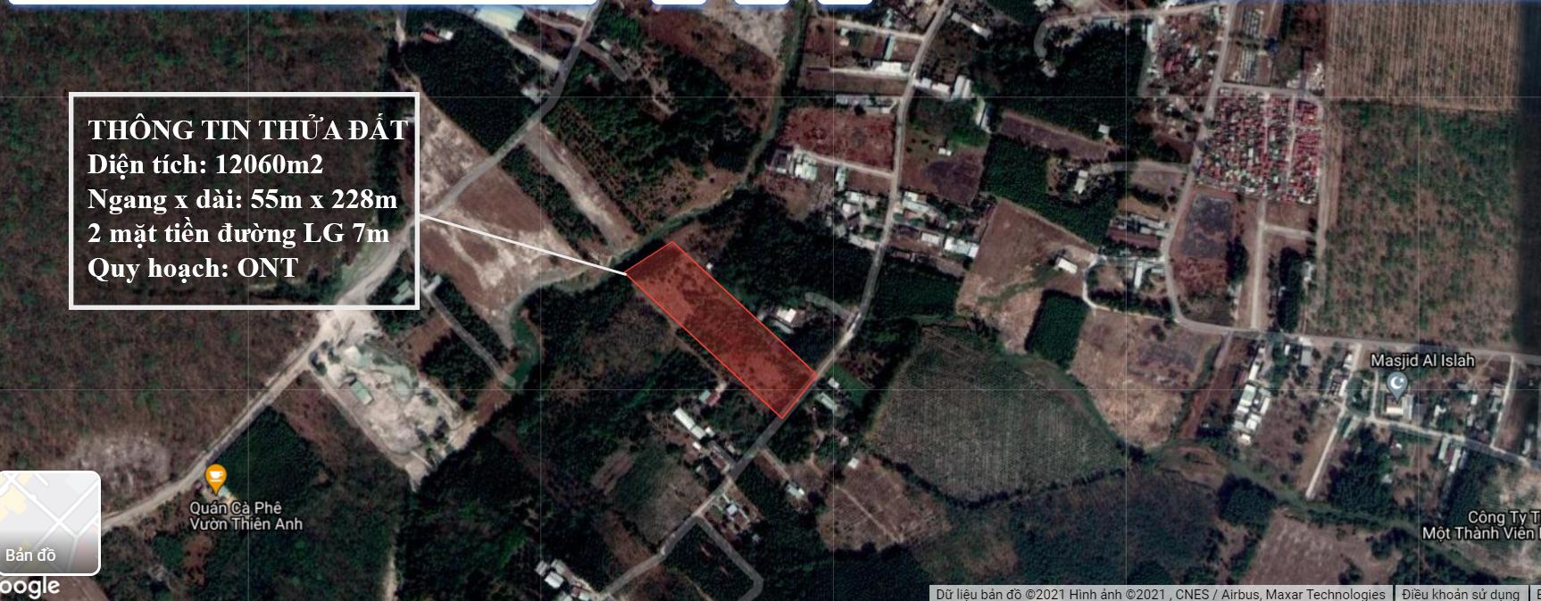 Bán đất xã bình Sơn, Long Thành 1,2ha ONT đất 2 mặt tiền đường chỉ 3,4tr/m2