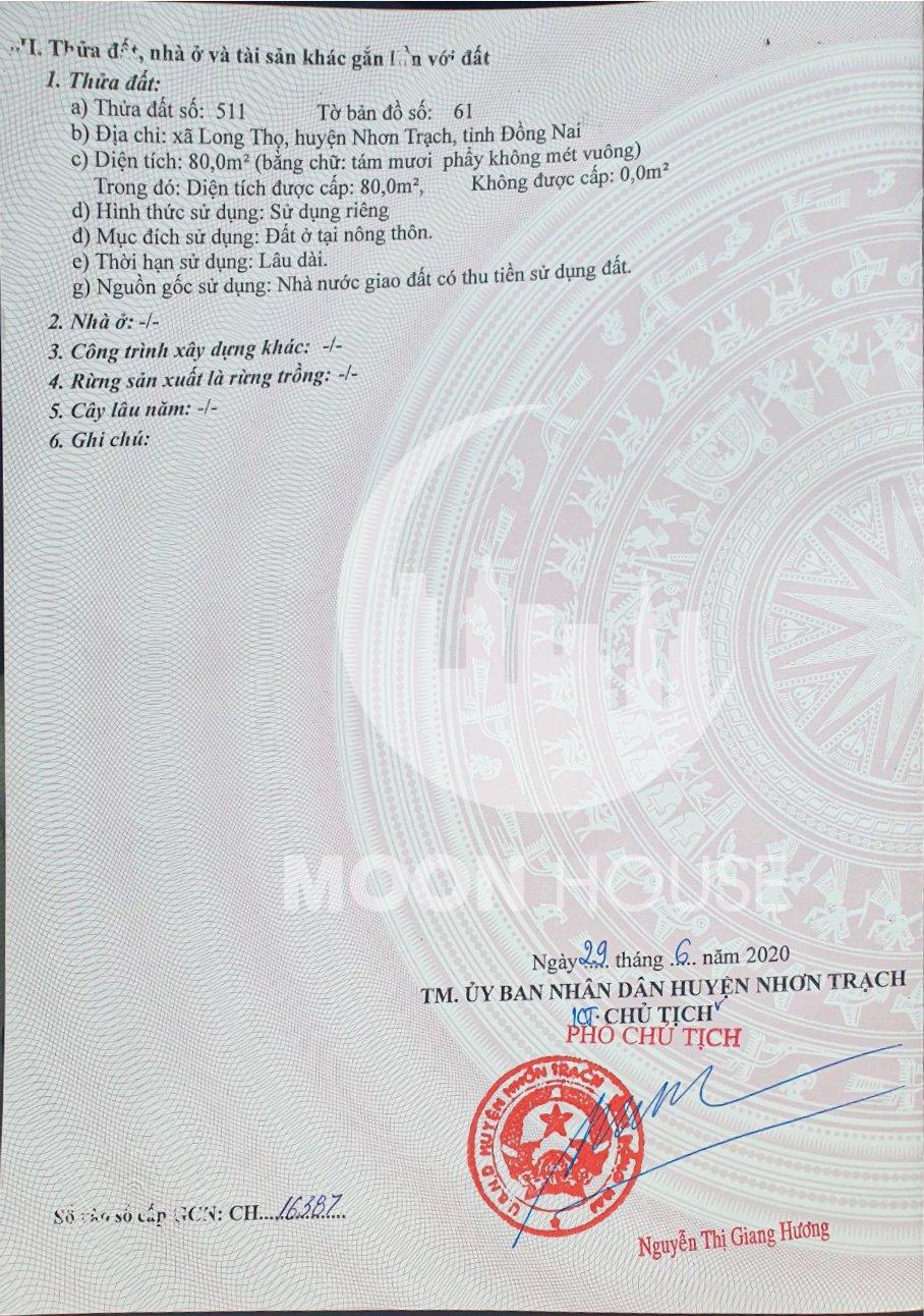 Bán đất nền Khu Tái Định cư , Xã Long Thọ , Huyện Nhơn Trạch chính chủ , sổ riêng , full thổ, Dt :80m2