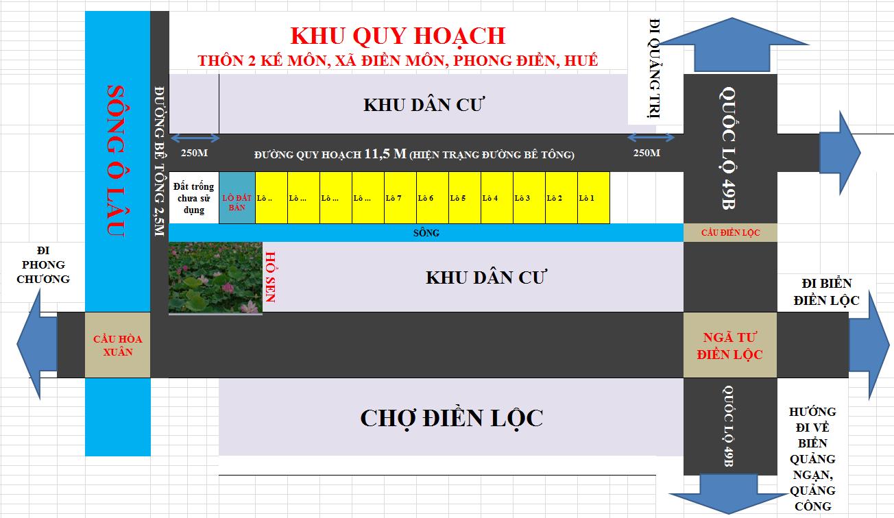 Bán đất Phong Điền, Huế: Diện tích: 200m2 (10x20) Giá 630 triệu
