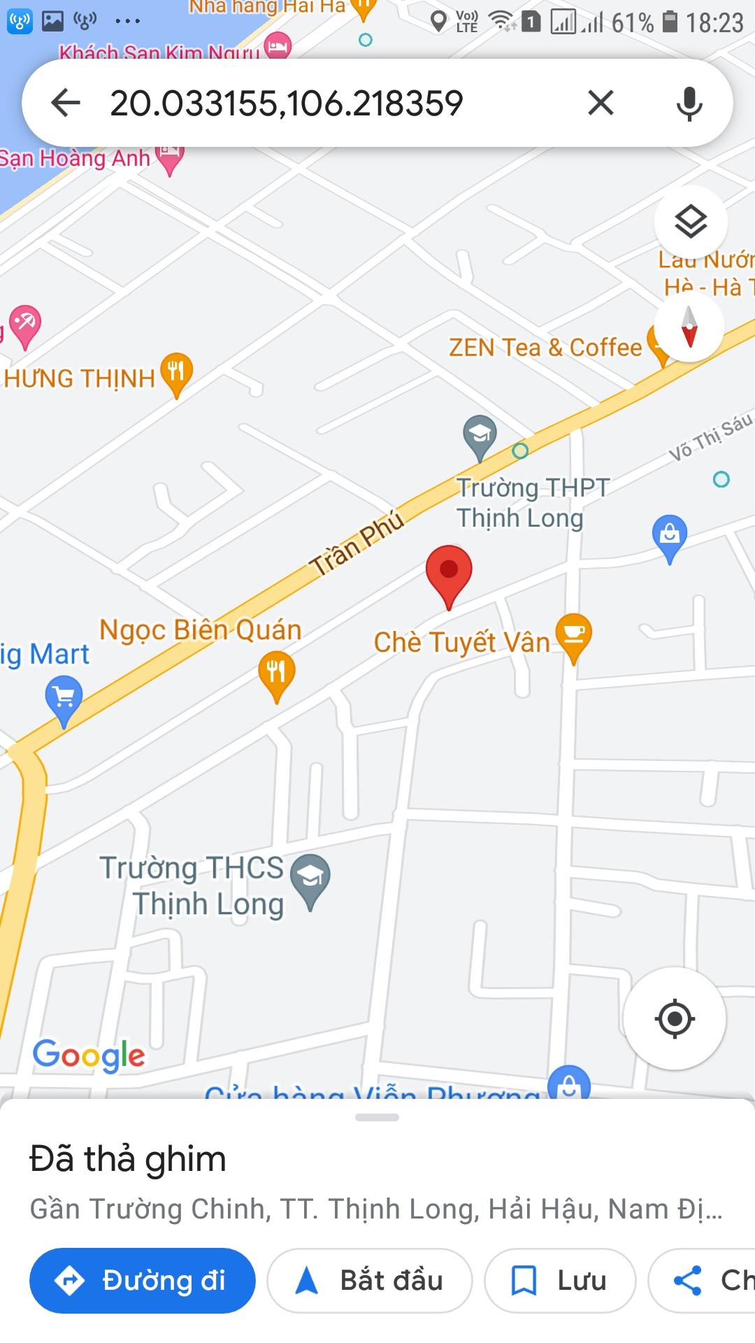 Bán đất chính chủ (5x25) 125m2 trên đường Trường Chinh thuộc Khu 18 Thịnh Trấn Thịnh Long , Hải Hậu , Nam Định