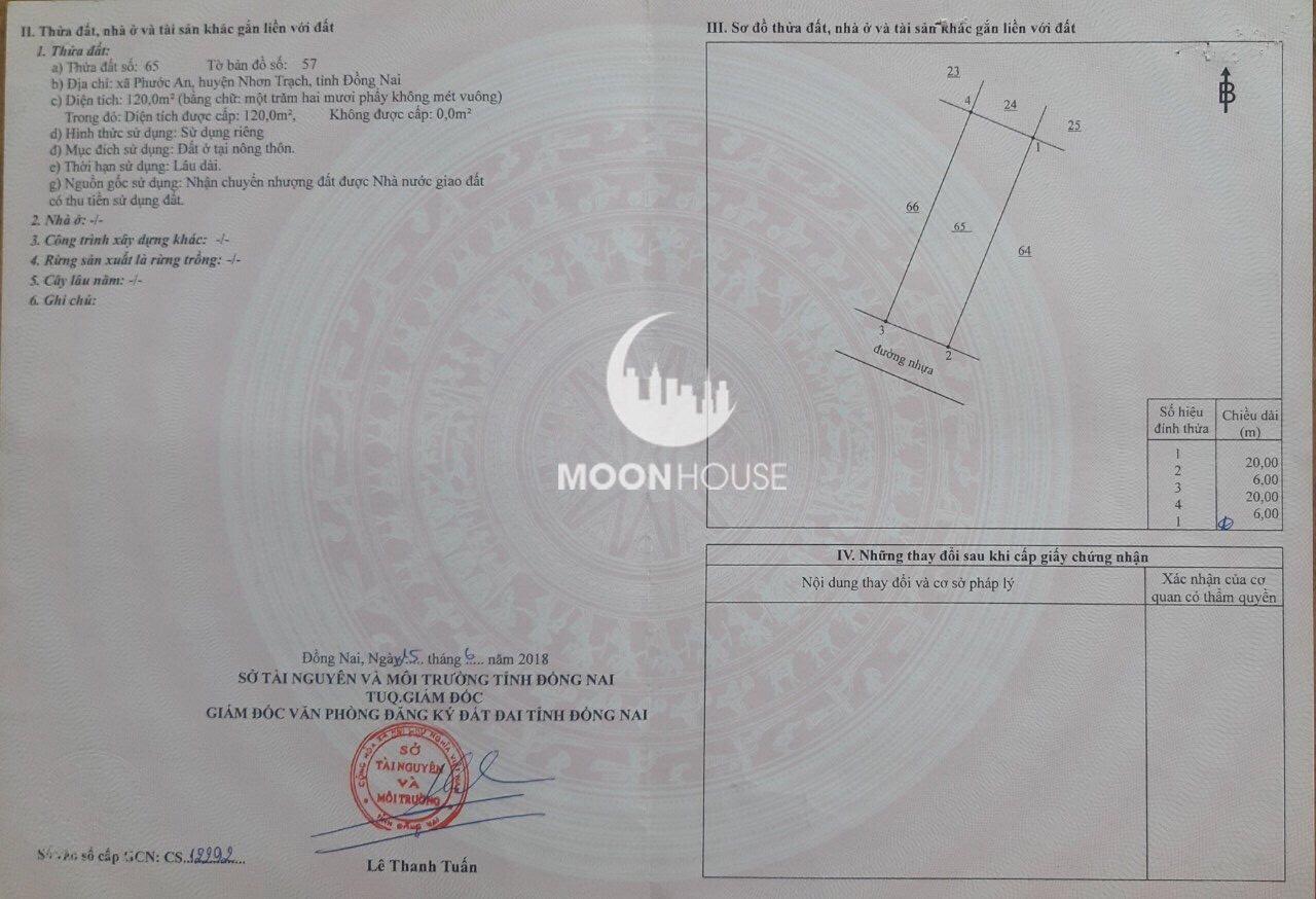Bán đất xã phước an , dự án Thành Hưng, Giá : 135tỷ , sổ hồng , full thổ , chính chủ