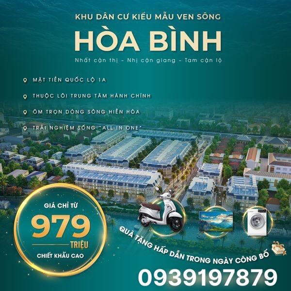 Cần bán Đất đường Quốc lộ 1A, Thị trấn Hoà Bình, Diện tích 83m², Giá 979 Triệu - LH: 0567093839