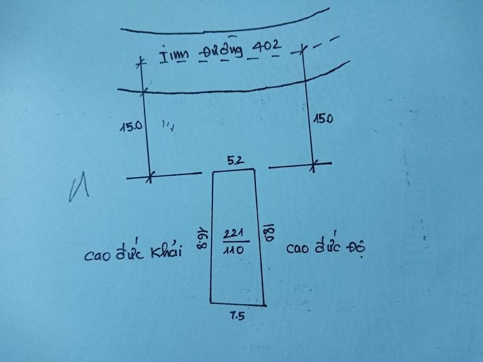 Cần bán Nhà mặt tiền đường 402, Phường Hòa Nghĩa, Diện tích 110m², Giá 2.1 Tỷ - LH: 0967254038