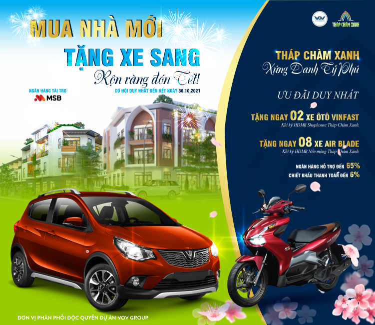 Đừng bỏ lở cơ hội nhận XE cuối cùng dự án Tháp Chàm Xanh, Ninh Thuận